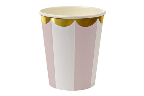 Toot Sweet Dusty Pink Stripe Cups - Pop Roc Parties