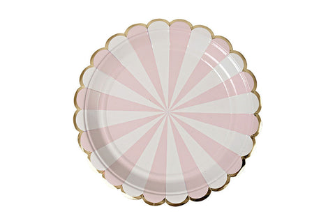 Toot Sweet Dusty Pink Stripe Plates - Pop Roc Parties