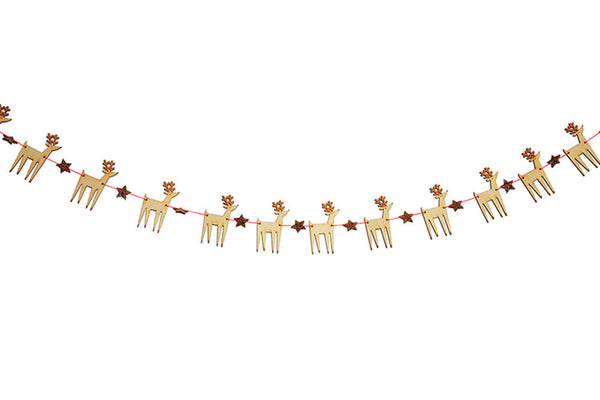 Meri Meri Mini Wooden Reindeer Garland | Pop Roc Parties