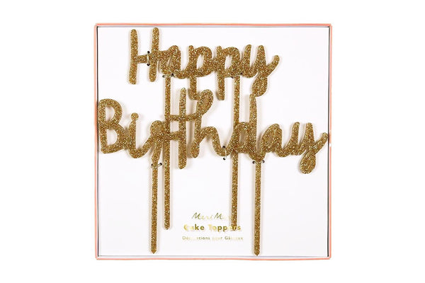 Meri Meri Glitter 'Happy Birthday' Cake Topper | Pop Roc Parties