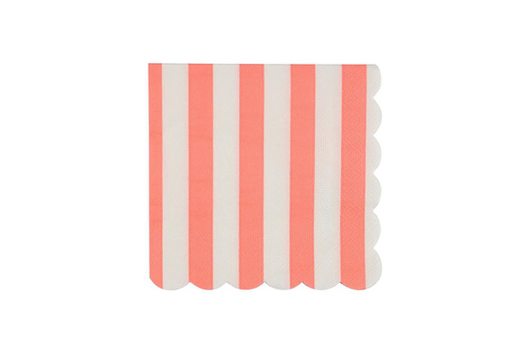 Meri Meri Coral Stripe Napkins | Pop Roc Parties