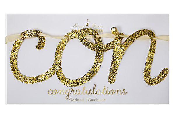 Meri Meri Gold Glitter congratulations Garland | Pop Roc Parties