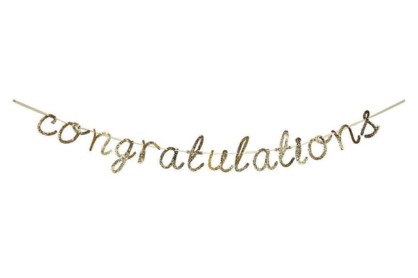 Meri Meri Gold Glitter 'congratulations' Garland | Pop Roc Parties
