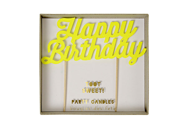 Toot Sweet Yellow 'Happy Birthday' Party Candle - Pop Roc Parties