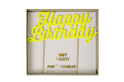 Toot Sweet Yellow 'Happy Birthday' Party Candle