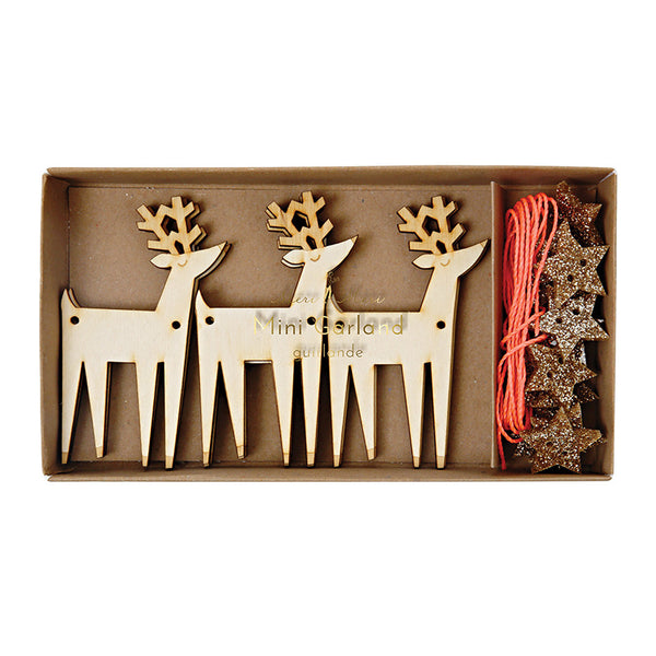 Meri Meri Mini Wooden Reindeer Garland - Pop Roc Parties