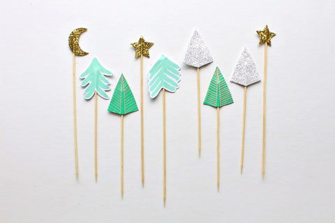Sparkly Trees Cake Toppers