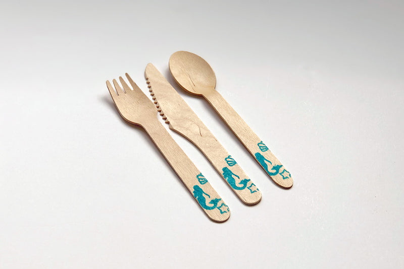 Eco Chic Stamped Wooden Knives - Mermaid | Pop Roc Parties