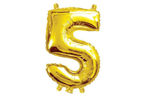 Metallic Mini Gold Foil Number '5' Balloon