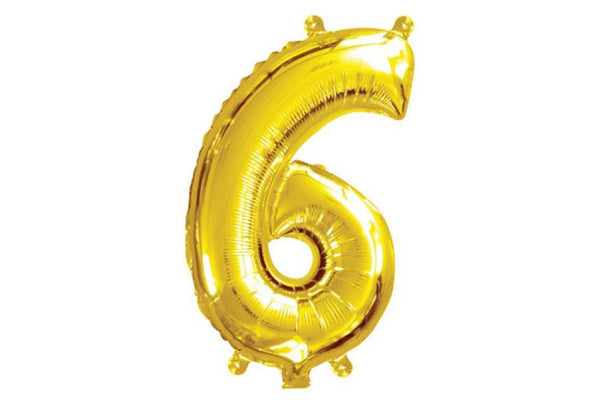 Metallic Mini Gold Foil Number '6' Balloon | Pop Roc Parties