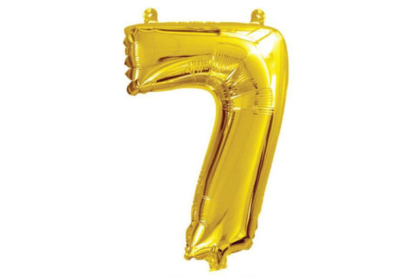 Metallic Mini Gold Foil Number '7' Balloon | Pop Roc Parties