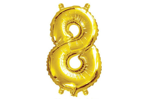 Metallic Mini Gold Foil Number '8' Balloon