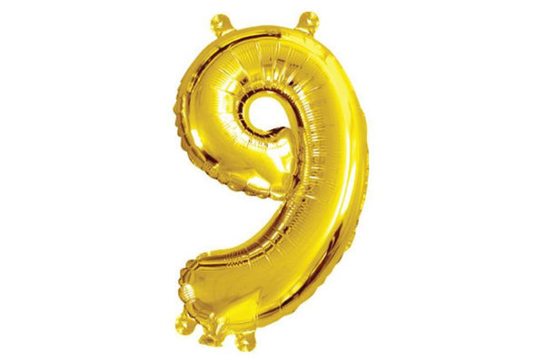 Metallic Mini Gold Foil Number '9' Balloon | Pop Roc Parties
