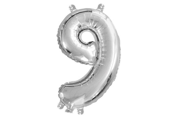 Metallic Mini Silver Foil Number '9' Balloon | Pop Roc Parties