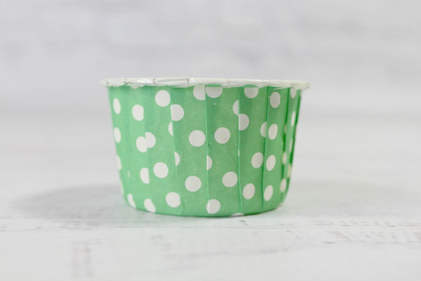 Green Apple Mini Polka Dot Cupcake Cups - Pop Roc Parties