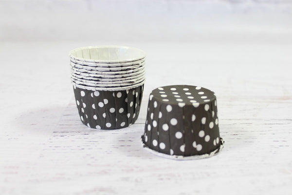 Black Mini Polka Dot Cupcake Cups - Pop Roc Parties
