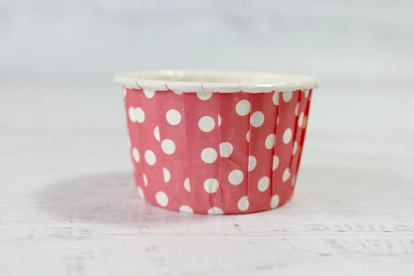 Blush Red Mini Polka Dot Cupcake Cups - Pop Roc Parties