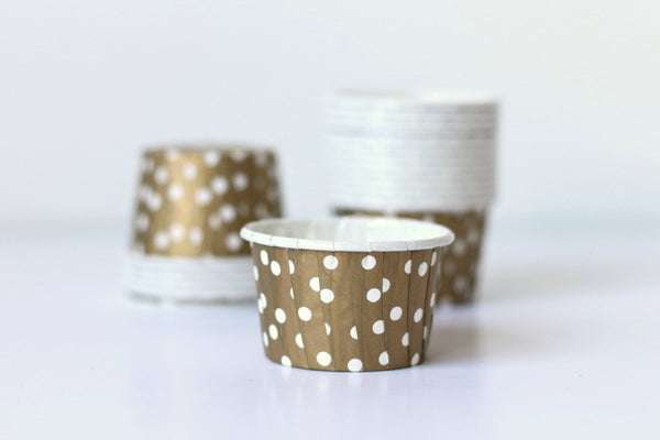 Gold Polka Dot Mini Cupcake Cups - Pop Roc Parties