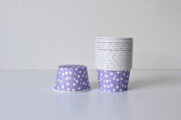 Lavender Mini Polka Dot Cupcake Cups - Pop Roc Parties