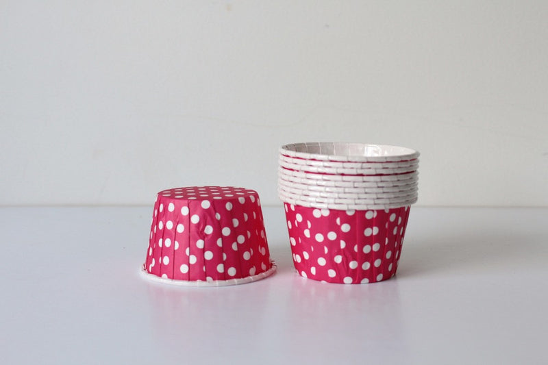 Magenta Mini Polka Dot Cupcake Cups - Pop Roc Parties