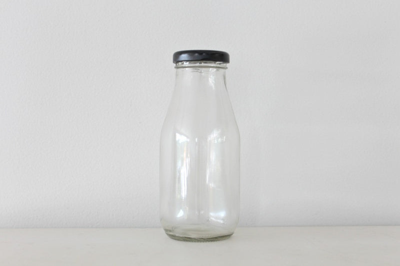 Mini Milk Bottles With Black Lids | Pop Roc Parties