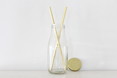 Mini Milk Bottles With Gold Lids - Pop Roc Parties