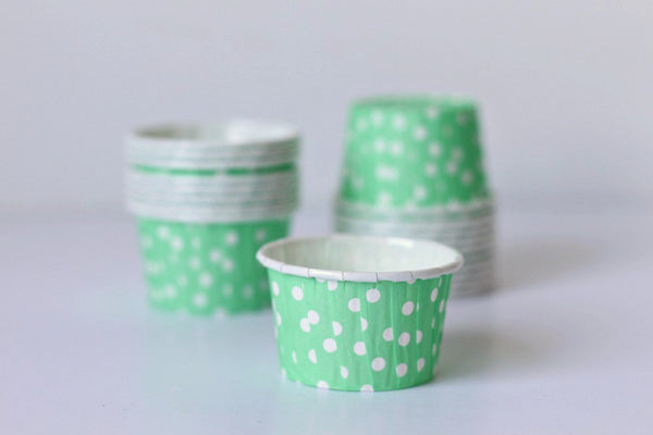 Mint Mini Polka Dot Cupcake Cups - Pop Roc Parties