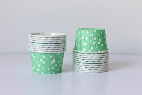 Mint Mini Polka Dot Cupcake Cups