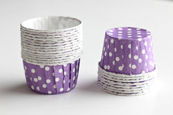 Purple Mini Polka Dot Cupcake Cups - Pop Roc Parties