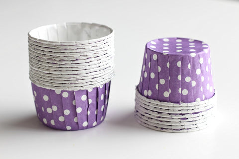 Purple Mini Polka Dot Cupcake Cups