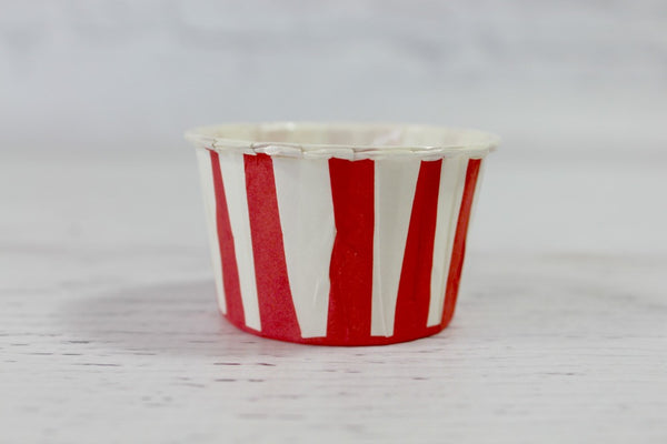 Red Stripe Mini Cupcake Cups - Pop Roc Parties