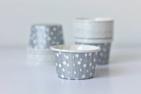 Silver Mini Polka Dot Cupcake Cups