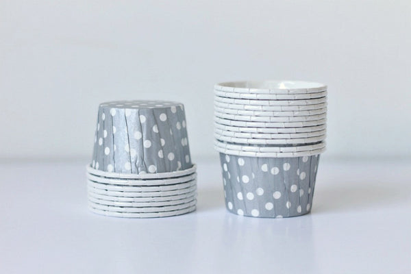 Silver Mini Polka Dot Cupcake Cups - Pop Roc Parties