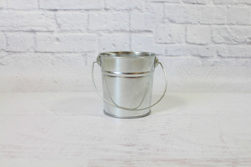 Mini Silver Steel Buckets - Pop Roc Parties