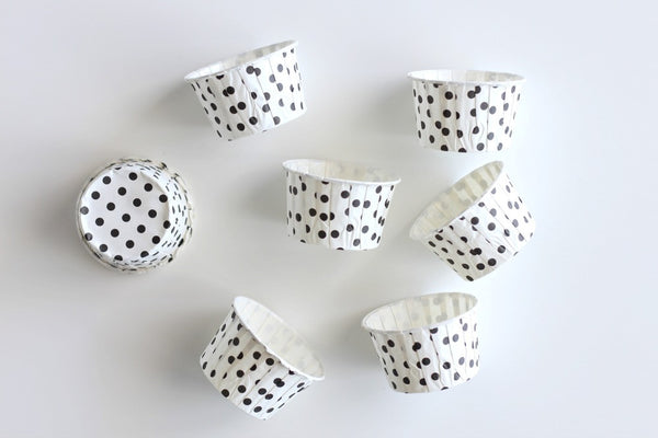 White Mini Polka Dot Cupcake Cups - Pop Roc Parties