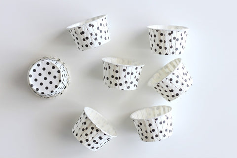 White Mini Polka Dot Cupcake Cups