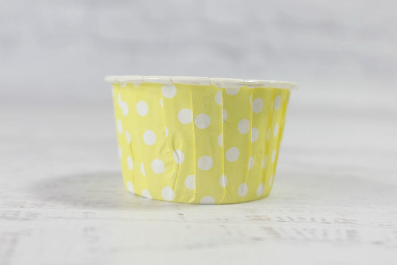 Lemon Mini Polka Dot Cupcake Cups - Pop Roc Parties