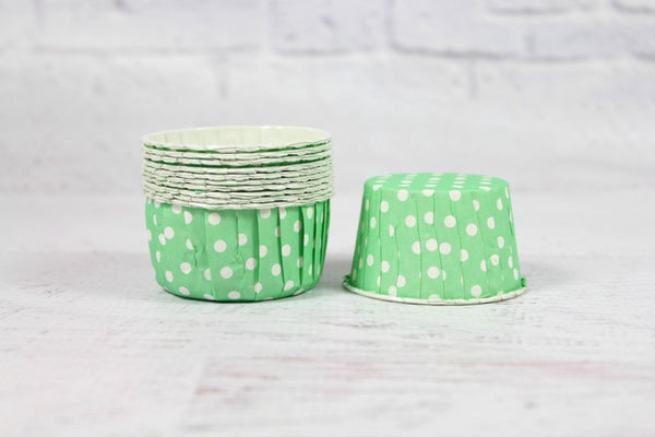 Mint Polka Dot Cupcake Cups - Pop Roc Parties