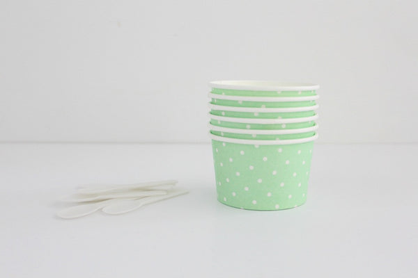 Mint Polka Dot Ice Cream Cup Set - Pop Roc Parties