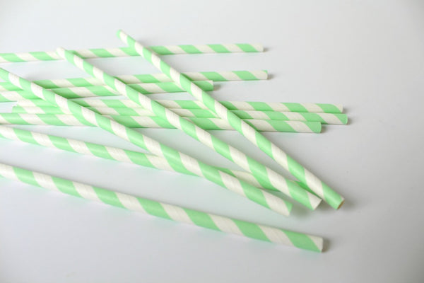 Mint Stripe Paper Straws - Pop Roc Parties