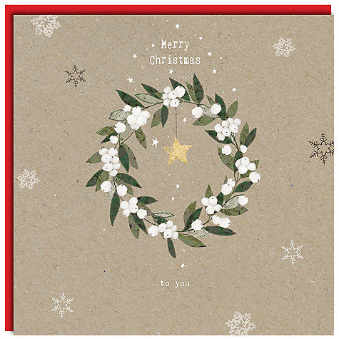 Mistletoe Wreath Christmas Card - Last One! - Pop Roc Parties