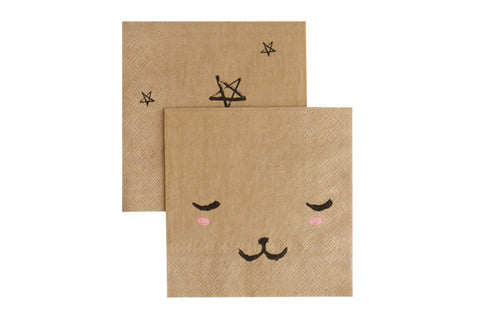 Modern Camp Bear Face Party Napkins