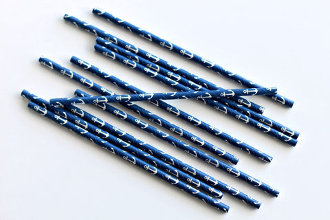 Blue Anchor Paper Straws - Pop Roc Parties