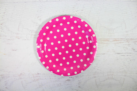 Magenta Polka Dot Paper Plates - Pop Roc Parties