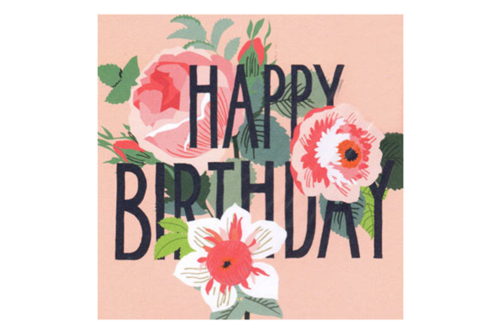Pink Floral Happy Birthday Card Pop Roc Parties