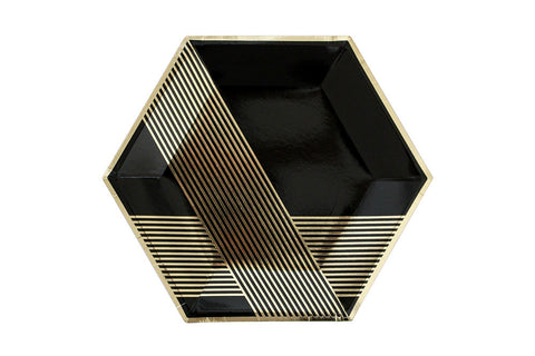 Noir Hexagon Large Party Plates