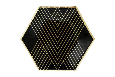 Noir Black Hexagon Small Party Plates