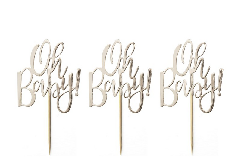 'Oh Baby' Cupcake Toppers - Pop Roc Parties