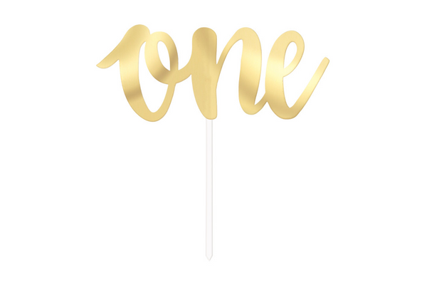 'One' Cake Topper - Gold - Pop Roc Parties