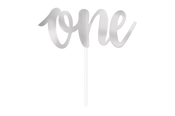 'One' Cake Topper - Silver | Pop Roc Parties